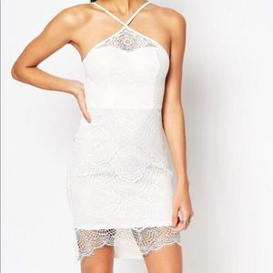 Ariana Grande for Lipsy White Sculpted Lace Dress
